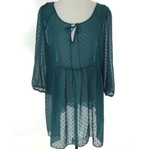 Motherhood Maternity Teal Green Sheer Top XL